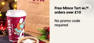 Get a free mince pie on Costa coffee on Uber Eats £10 minium spend