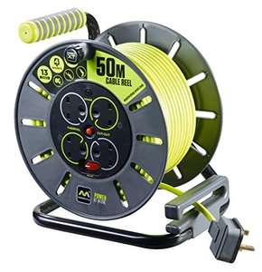 Masterplug Pro-XT Four Socket Open Cable Reel Extension Lead with Winding Handle, Thermal Cut Out and Power Switch, 50 Metres £37.99 Amazon