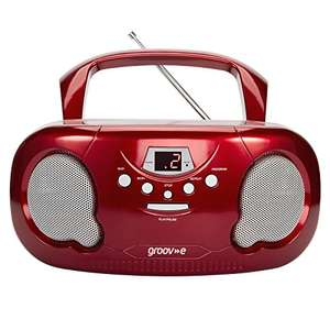Groov-e Portable CD Player Boombox with AM/FM Radio, 3.5mm AUX Input, Headphone Jack, LED Display - Red £20 delivered at Amazon