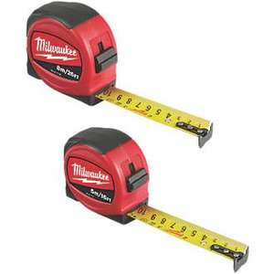 Milwaukee 5 & 8m Tape Measure Set 2 Pieces free click & collect - £9.99 @ Screwfix