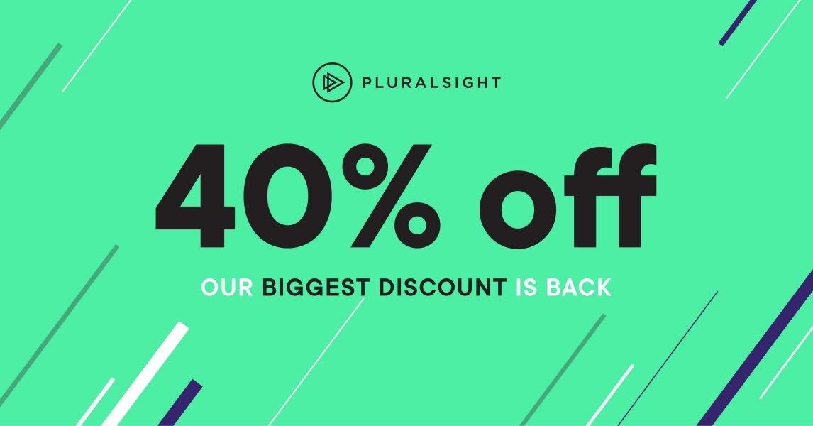 Pluralsight - 40% off annual subscriptions - £146 basic or £221 premium