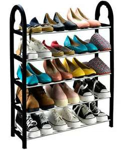 5 Tier 15 Pair Shoe Rack Black Stand Storage Organiser Lightweight Compact £8.99 at thinkprice ebay