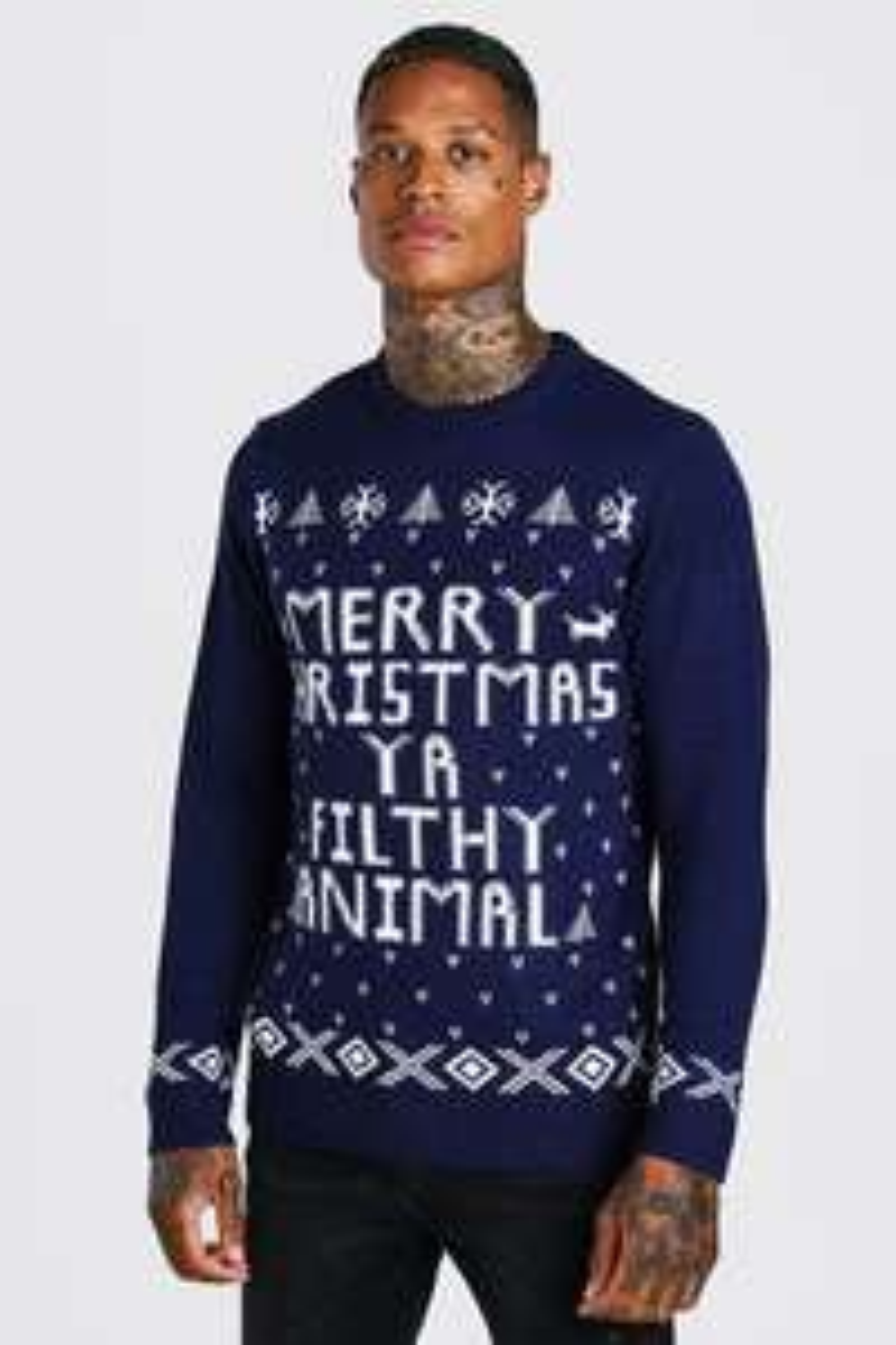 Merry Christmas Ya Filthy Animal Christmas Jumper £9 + £3.99 delivery @ BoohooMAN