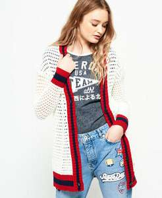 Superdry Womens Varsity Spirit Crochet Cardigan (8,10,12,14) - £16.50 @ Superdry Ebay