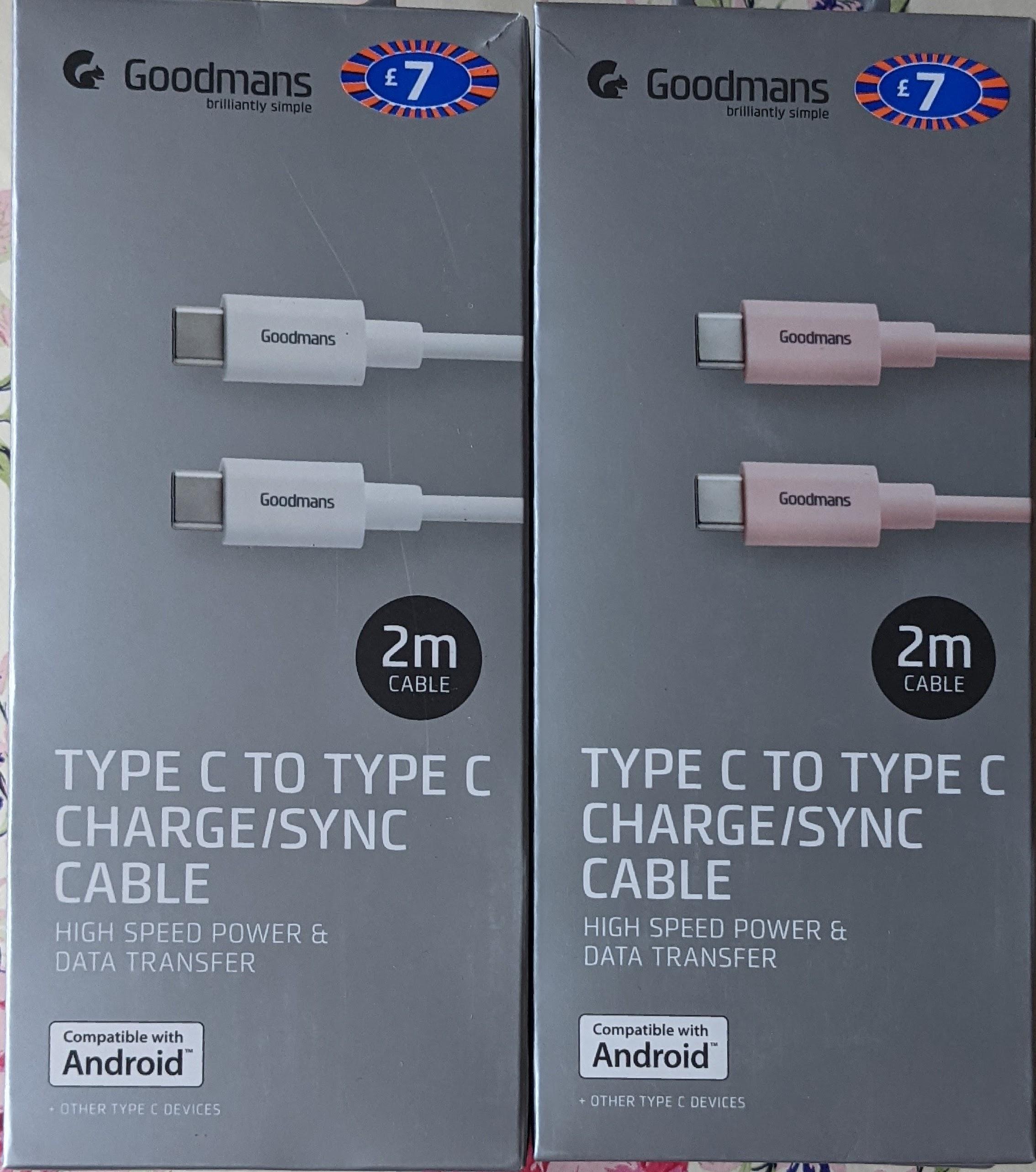 Goodmans 2m Type C to Type C Charge / Sync Cable £2 & B&M (Trowbridge)