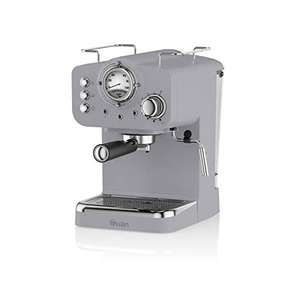 Swan SK22110GRN, Retro Pump Espresso Coffee Machine with Milk Frother, 15 Bars of Pressure, Grey £73 @ Amazon
