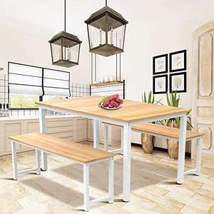 Hooseng 3 Piece Kitchen Dining Room Table Set, Wood Dining Table and 2 Benches Set Beige £89.91 delivered at Amazon