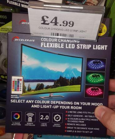 USB LED strip lights 2mtr £4.99 at Home Bargains Bellevale