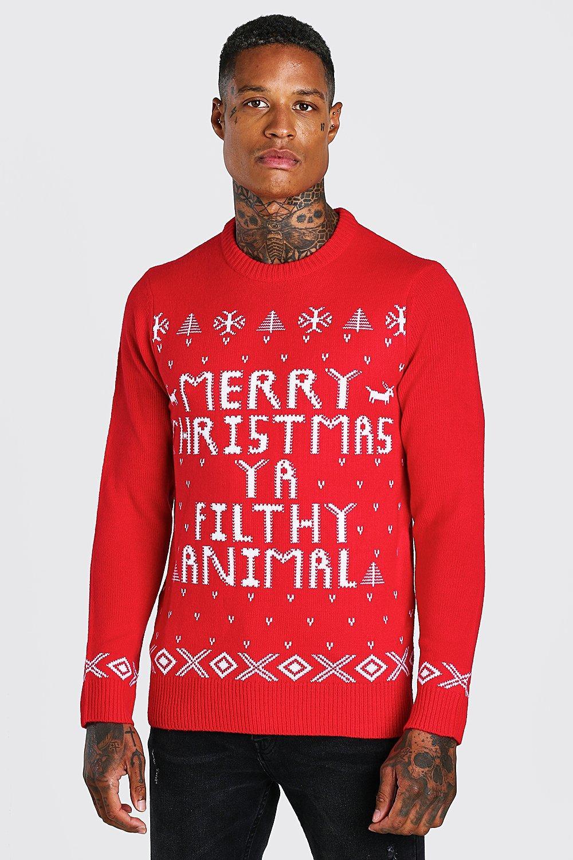 Merry Christmas Ya Filthy Animal Christmas Jumper @BoohooMAN
