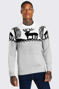 Men's FAIR ISLE KNITTED Christmas Jumper Sizes S M L XL £5 at BoohooMAN