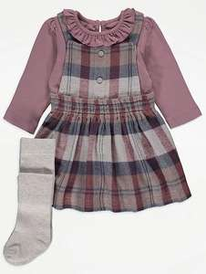 Checked Pinafore Dress, Bodysuit and Tights Outfit - (0-3 months) £6 @ George (As
