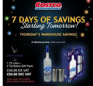 1.75l Magnum of Grey Goose and two shiny tumblers for £59.98 Instore @ Costco