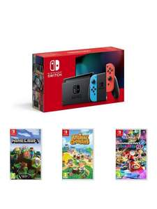 Nintendo Switch Neon Bundle with Animal Crossing, Minecraft & Mario Kart for £339.99 delivered @ Very