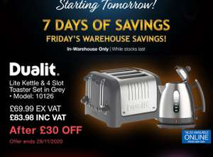 Dualit Lite Kettle & 4 Slot Toaster Set, Grey £83.98 - Costco instore only from 27-29 November