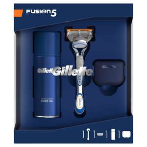 Gillette Fusion 5 Gift Set with Shaving Gel & Travel Cover now £6.69 + lots more Gift Sets reduced + Free delivery with code @ Gillette