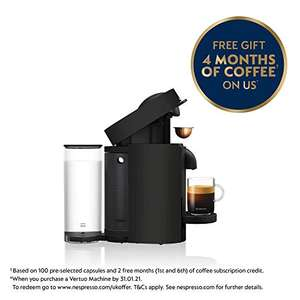 Nespresso Vertuo Plus by Magimix Coffee Machine in Black + Claim 100 Coffee Capsules Plus 2 Months Coffee Subscription £60 delivered Amazon