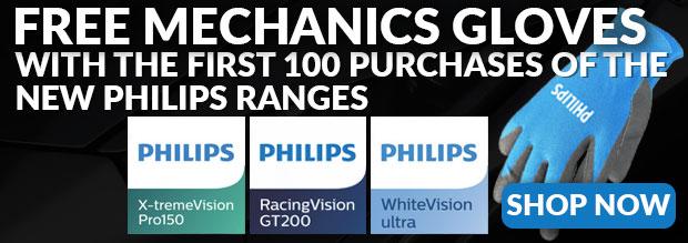 25% off Philips Headlight Bulbs at Powerbulbs plus free mechanics gloves via Power Bulbs