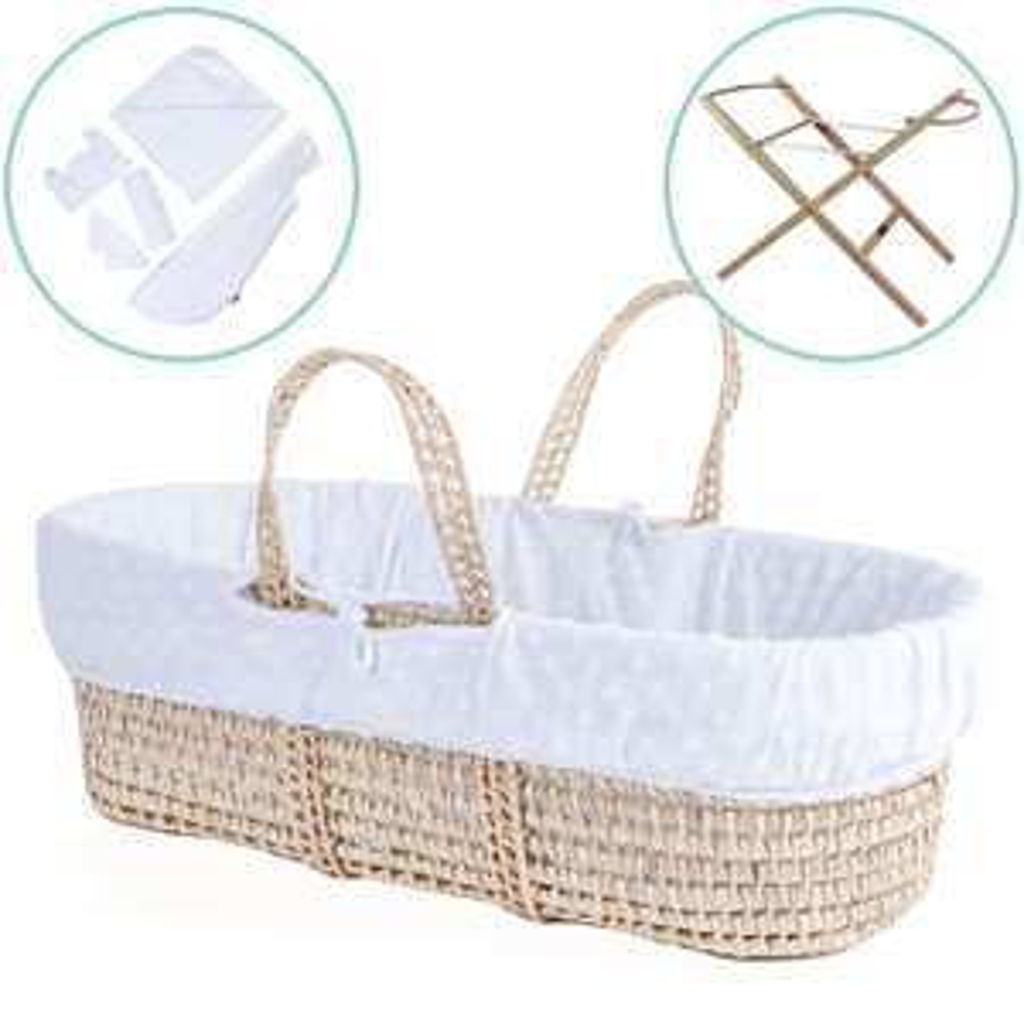 Moses basket, stand and baby bundle price £52.50 @ clair-de-lune.com