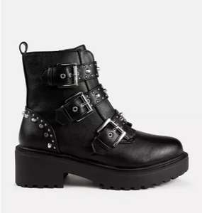 black buckle strap chunky ankle boots - £26 / £27.99 delivered @ Missguided