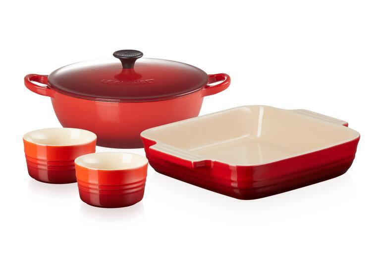 Black Friday - Cast Iron and Stoneware Essential Cookware Set - Cerise £140 @ Le Creuset