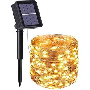 Outdoor Solar powered LED Lights. 10m. White(ish) only - £6.39 + £4.49 NP @ Sold by flintronic®-eu and Fulfilled by Amazon.