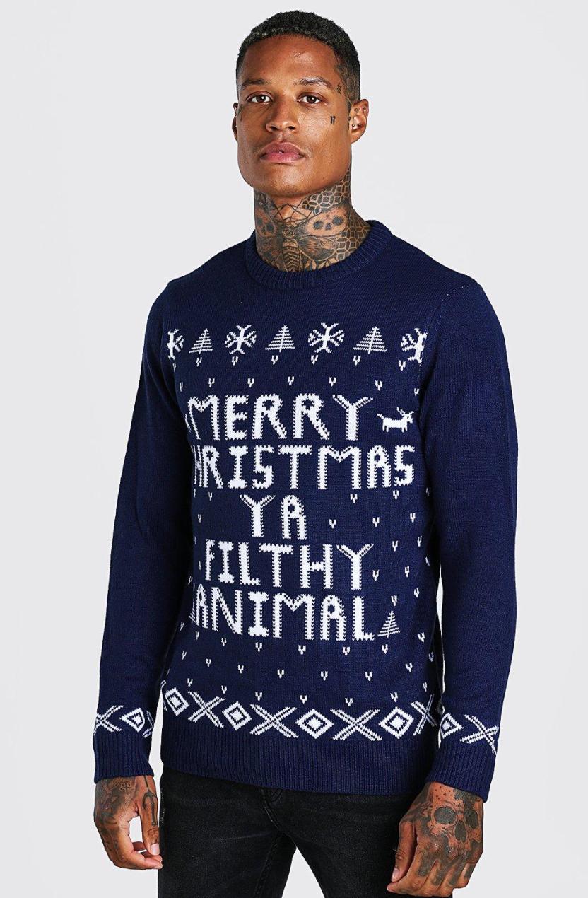 Merry Christmas Ya Filthy Animal Men's Christmas Jumper - £9 delivered @ boohoo