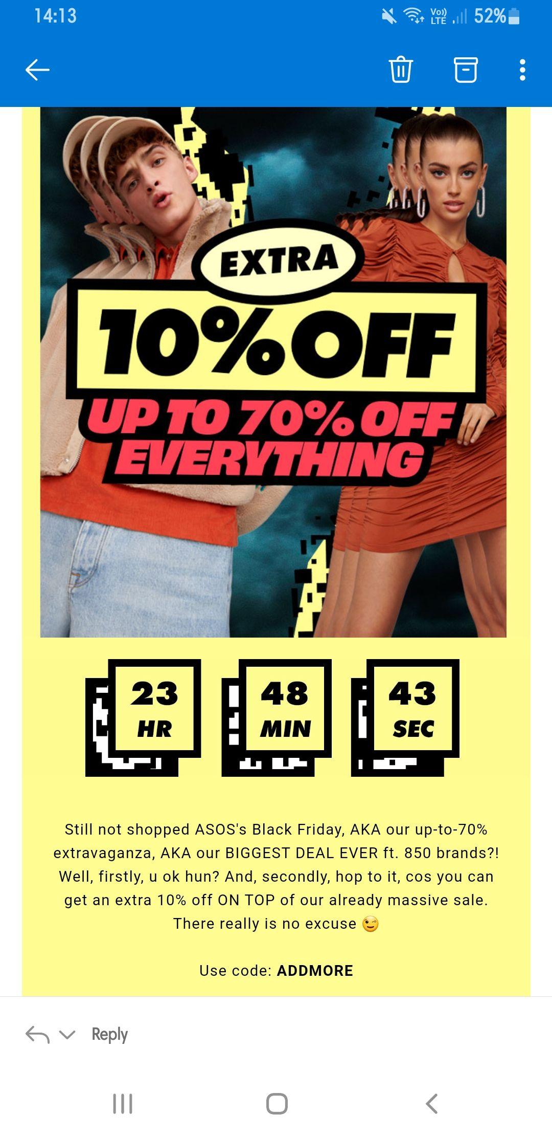 Further 10% black Friday discount @ ASOS