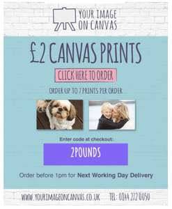 A4 (8x12) canvas prints for £2 with a code via Your Image On Canvas (£3.50 Delivery)
