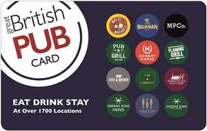 Buy a Great British Pub Card from £40 and get an extra £10 for FREE