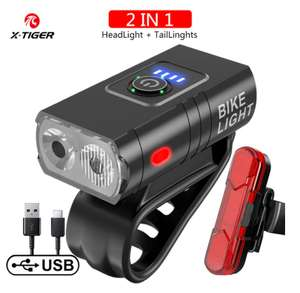 X Tiger QD-0201 1200 lumen front bike light with rear red light set for £11.80 delivered from China @ AliExpress / X-Tiger Official Store