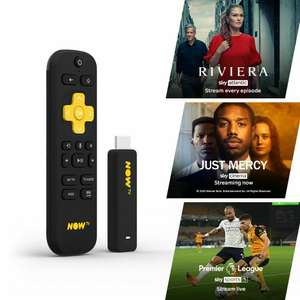NOW TV Smart Stick 3 passes (1 month Entertainment, 1 Sky Cinema & 1 day Sky Sports Passes pre-loaded) £15.60 with Nectar @ Boss_Deals eBay