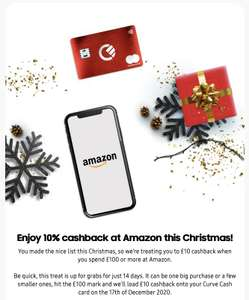 Curve Card - £10 cashback from Amazon for £100 or more purchase using Curve Card.