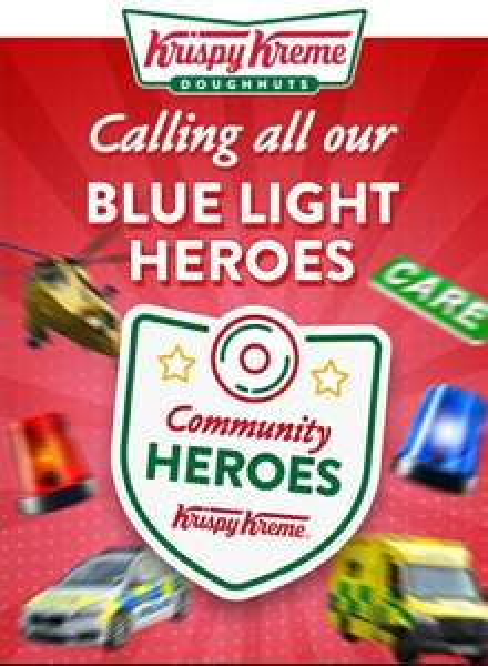 50% off dozens every Wednesday in December for our Blue Light heroes! @ Krispy Kreme