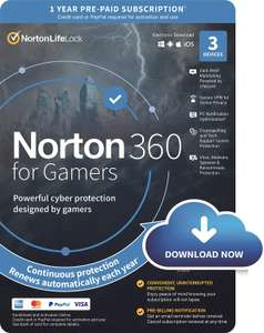 NORTON 360 FOR GAMERS 3 Devices | 1 User | 1 Year | PC/Mac | Activation Code by email - £16.99 @ Amazon