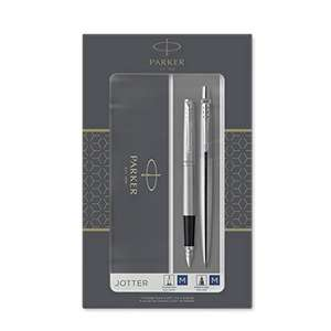 Parker Jotter Duo Gift Set Ballpoint & Fountain Pen, SS with Chrome Trim, Blue Ink Refill & Cartridges, Gift Box £15.40 (£4.49 NP) @ Amazon