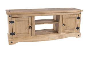 Home Source Large Corona TV Stand Entertainment Unit Solid Pine 2 Door Television Cabinet £70.73 delivered at Amazon