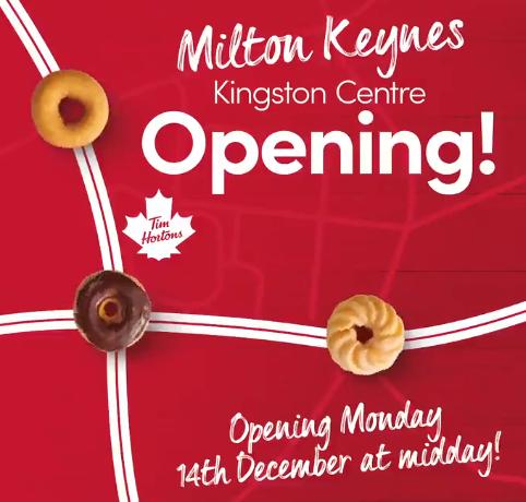 Tim Horton - Milton Keynes - Free lunch the first 100 customers through the drive thru