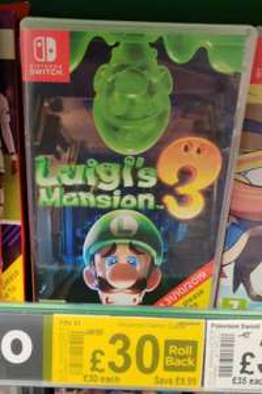 Luigi's Mansion 3 Nintendo Switch £30 at Asda Nottingham
