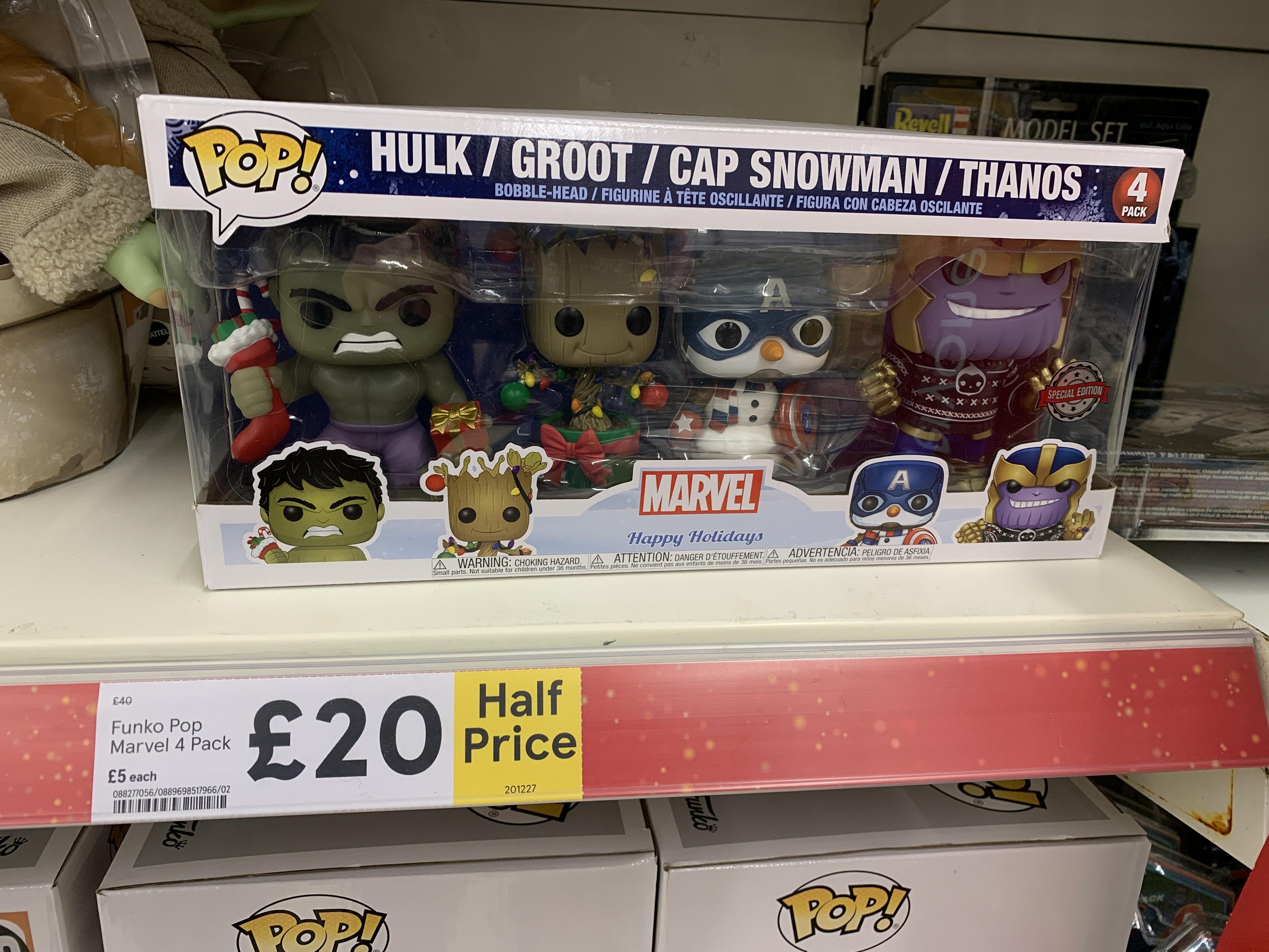 Funko Pop Marvel 4 Pack Christmas Edition Hulk Groot Captain America Thanos @ Tesco Scunthorpe