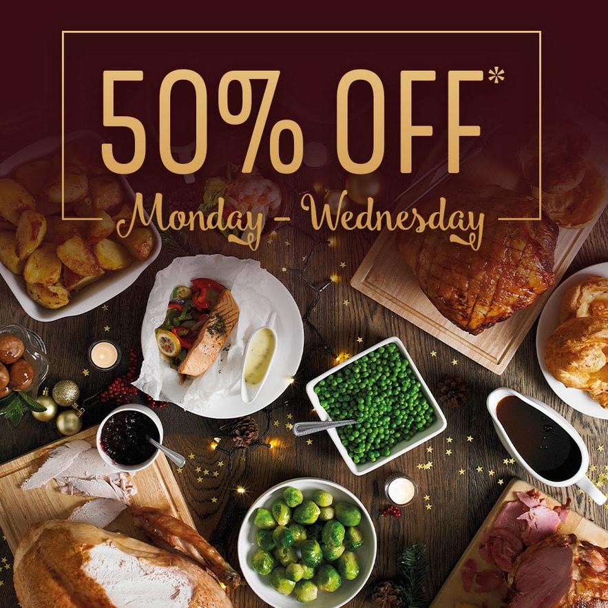 50% off all Adult Mains & Festive Set Menu 14th - 16th December e.g Roast Dinner with veg £3.75 - via app @ Toby Carvery