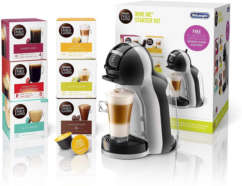 De'Longhi Nescafé Dolce Gusto Mini Me Single Serve Capsule Coffee Machine Starter Kit + 6 boxes of Coffee Pods, EDG155.BG £35 Amazon