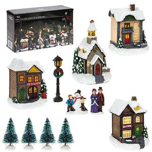 12 Piece Light Up Christmas Village £10 + £2.99 delivery @ Weeklydeals4less