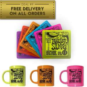 Free Next Day Delivery on all orders - EG: 6 Pack Ernie Ball Drink Coaster Set - £2.99 / Ernie Ball Slinky Mugs £3.99 Each @ PMT