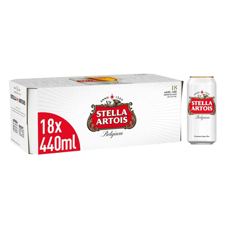Stella Artois 18 x 440ml cans for £13 at Sainsburys