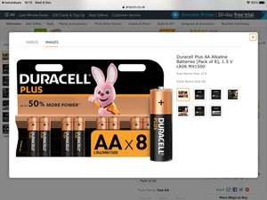 Duracell Plus AA Alkaline Batteries [Pack of 8], 1.5 V LR06 MX1500 limited stock - £4.20 (+£4.49 NP) - Sold by mspackaging / FBA