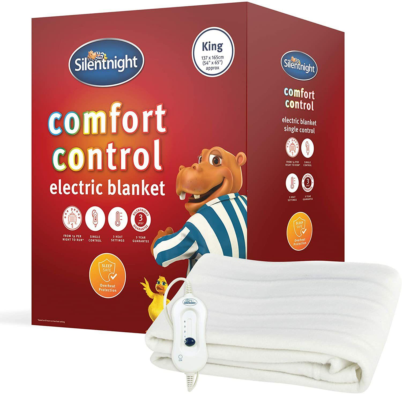 Silentnight Comfort Control Electric Blanket, White, King £22 @ Amazon