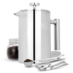 1500ml French Press Cafetiere Set - cafetiere, 3 coffee filters, 2 stainless steel spoons & bag scoop clip - £16.44 Delivered @ Roov