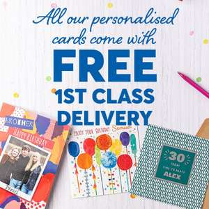1st Class postage is Free on Personalised, prices start from £1.79 + Free £1 Amazon with Any Purchase at Vouchercodes - @ Card Factory