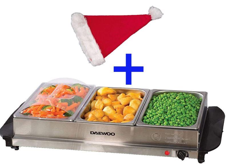 Daewoo SDA1445 Large Buffet Server 300W Food Warmer (3 x 2.5L warming pans with lids) Stainless Steel + Christmas Hat - £20.58 @ Robert Dyas