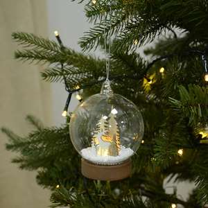 Light Up Glass Christmas Bauble - Reindeer & Forest With Snow - £2.99 (+£3.99 Postage) @ XS Stock